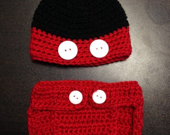 Crochet Mickey Mouse Hat and Diaper Set
