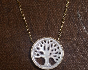 Sterling Silver Tree of Life Nacar Necklace,  Tree of Life Necklace