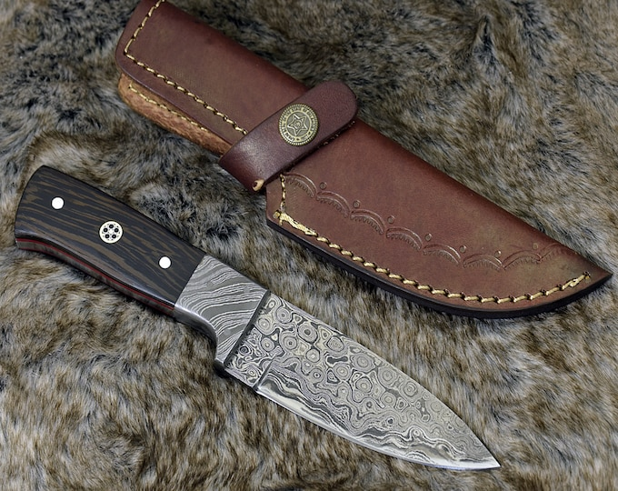 "DAMASCUS KNIFE, CUSTOM hunting knife, 8.0"" ,Hand Made, Damascus steel hunting knife, Damascus Guard, Exotic wenge wood handle, full tang"