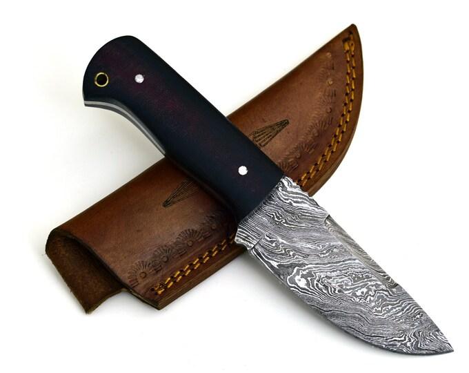 "JUPITER, Damascus steel knife, DAMASCUS TWIST Pattern  8"" Micarta Handle"