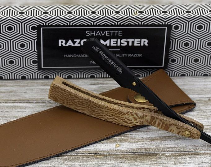Personalized Black Straight Razor, Disposable blade Straight Razor, Exotic Leopard Wood Handle