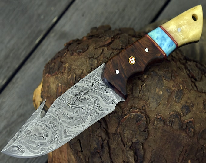 """10.0"""" Custom Damascus Steel knife, Damascus knife skinning tactical camping utility hunting knife w/ hand stitched leather Personalized"""