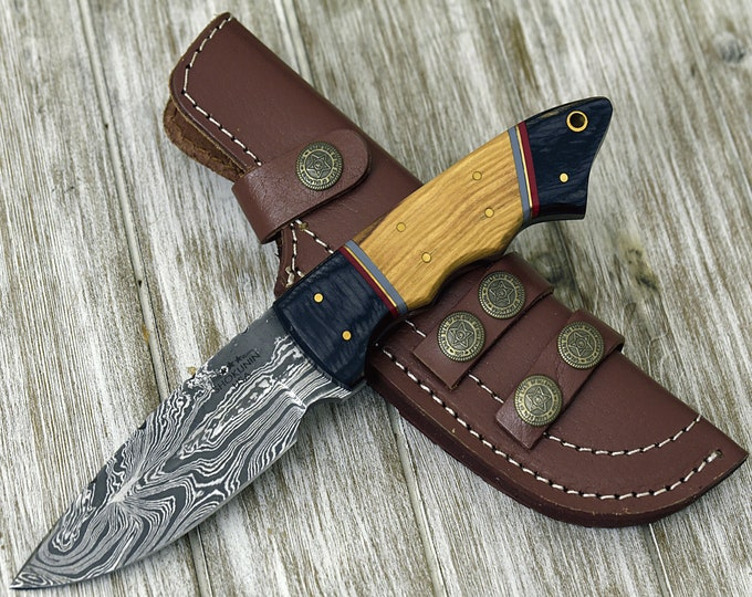 "DAMASCUS KNIFE, DAMASCUS steel knife, damascus hunting knife, drop point blade, Olive wood composite handle 9"" 3491-3"