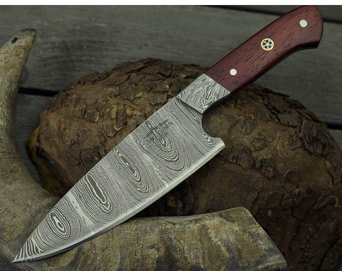 "CUSTOM, 10.5"", PRO CHEF knife, Damascus Steel knife, French Chef knife w/ Exotic Padauk wood handle, Chef knife, Professional personalized"