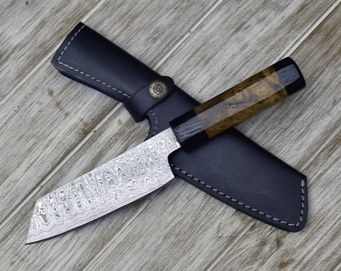 "CUSTOM, 10"", DAMASCUS KNIFE, Damascus Steel knife, Japanese Bunka knife w/ Exotic Mango Burl & Wenge Wood handle, Chef knife, Professional"