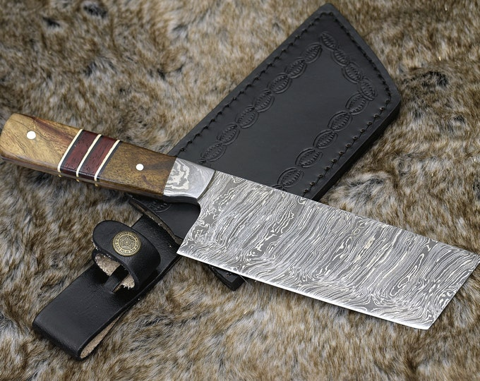 "DAMASCUS NAKIRI KNIFE 10.5"", Exotic Mango burl & African Padauk wood Composite Handle, Chef knife cleaver knife"