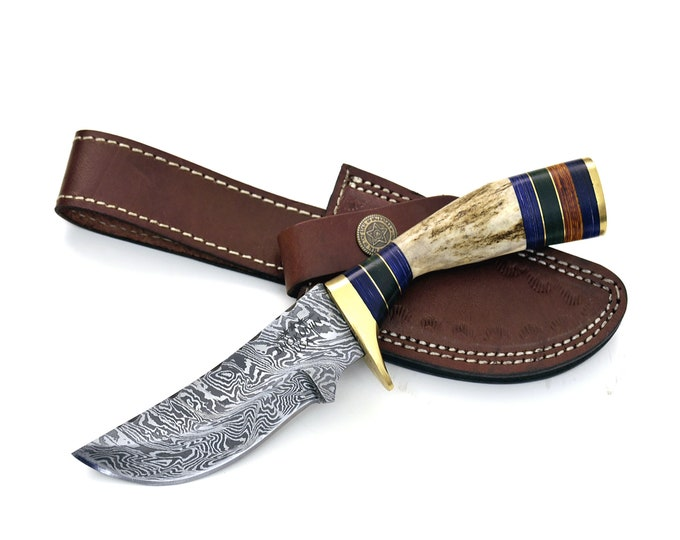 "8.0"" Custom Damascus knife, Damascus steel utility knife tactical camping hunting knife with hand stitched leather sheath stag handle"