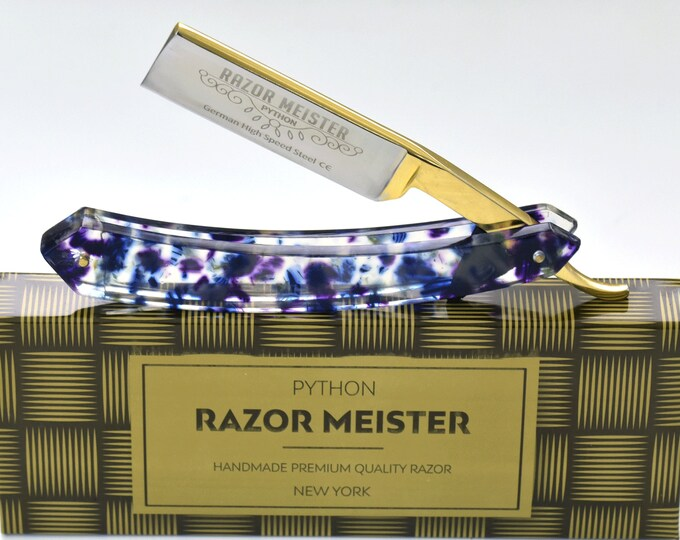 STRAIGHT RAZOR, PYTHON german high speed steel, shave ready, modern tie dye acetate handle, groomsmen gift