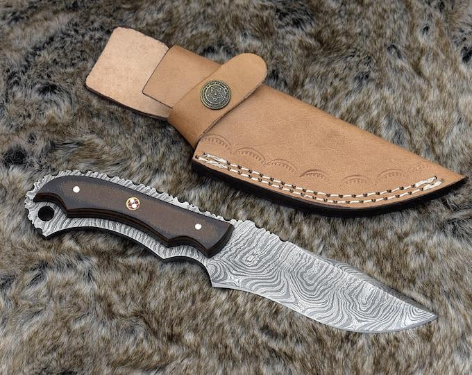 """Custom Damascus Steel Skinning knife, hunting knife, neck knife, utility knife, 8"""" Micarta Scales handle lanyard hole"""