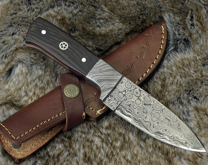 "8.0"" Custom Damascus Steel knife, Damascus knife skinning tactical camping utility hunting knife w/ hand stitched leather Personalized"