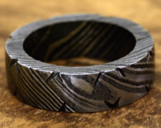 Hand Forged & Finished Damascus Steel Ring, Damascus Ring, Hand Carved, US size 7.5 ring, wedding band, engagement ring, rings, bands