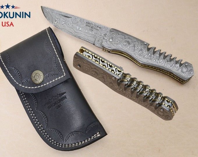 DAMASCUS STEEL folding pocket,, damascus folding KNIFE with sheath, damascus everyday carry, damascus folder, full damascus knife