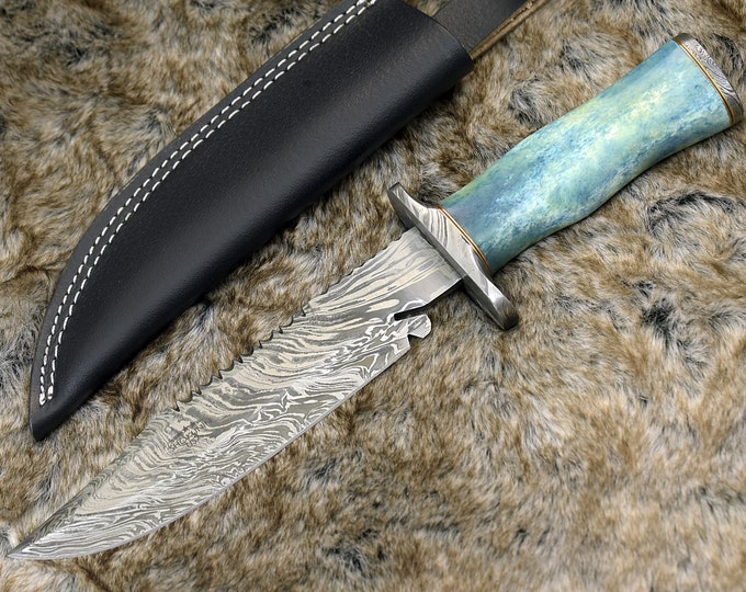 "DAMASCUS HUNTING KNIFE, Custom Damascus knife, 12.5"" ,Hand forged, Damascus steel knife, Damascus Guard & Pommel, Bowie knife"