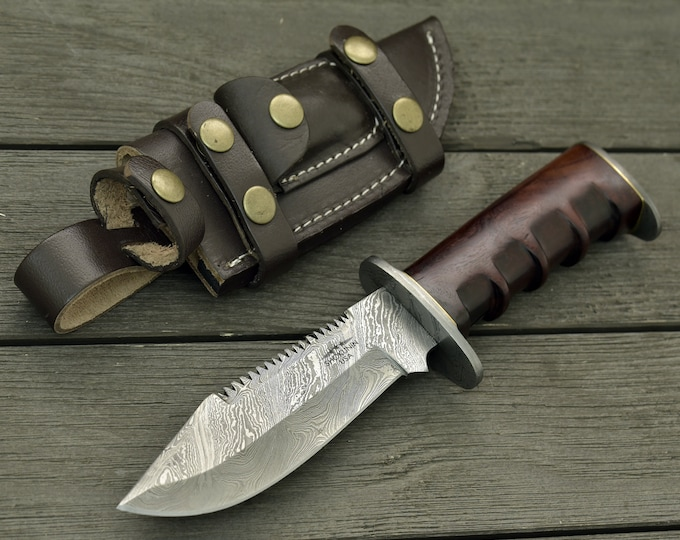 """DAMASCUS HUNTING KNIFE, Custom handmade knife, 11.0"""" , Hand forged, Damascus bowie knife, Exotic Bolivian rose wood handle, Personalized"""
