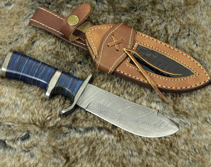 "9.0"" custom, Damascus knife with Composite fiber handle hunting knife / tactical / survival / custom / personalize Damascus steel knife"