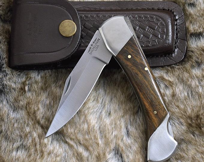 "Personalized Pocket knife, Clip Point, 9.0"", Folding Knife, groomsman gift, D2 Steel, hunting knife, Exotic Rose Wood Handle, Custom"