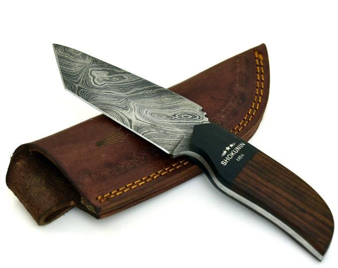 """ODIN, Damascus steel knife, DAMASCUS TWIST Pattern  8"""" Black Wooden Handle"""