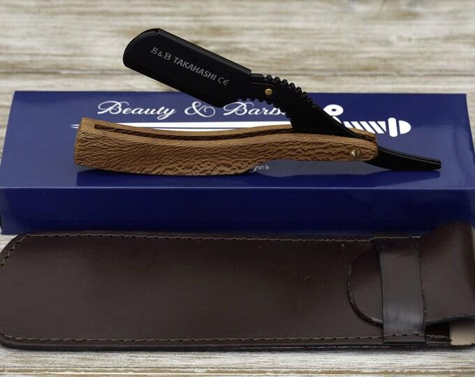 Personalized Black EXOTIC LEOPARD WOOD Handle Straight Razor, Disposable blade Straight Razor gift, professional
