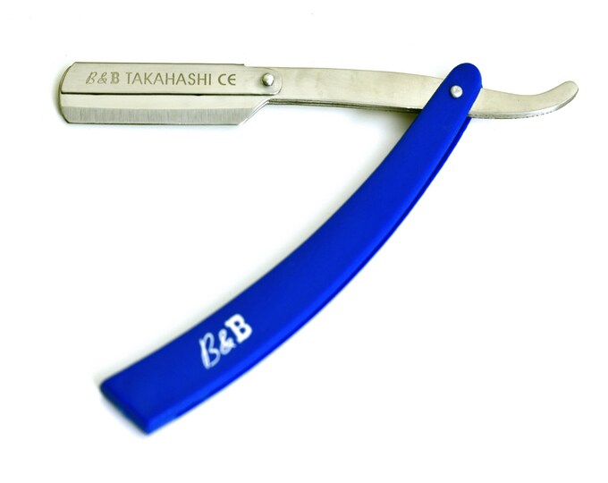 B&B Straight razor with 10 double edge blades