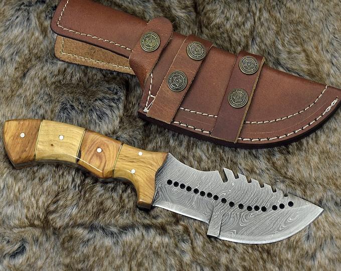 "DAMASCUS KNIFE, Custom Damascus tracker knife, 9"" ,Hand forged, Damascus steel knife, hunting knife, Olive wood handle, personalized"