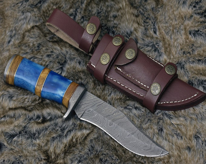 """DAMASCUS HUNTING KNIFE, Custom Damascus knife, 11.5"""" ,Hand forged, Damascus steel knife, Damascus Guard, Exotic Camel Bone Olive Burl Handle"""