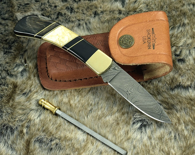 POCKET KNIFE, Damascus KNIFE, drop point folding knife, every day carry, Damascus pocket knife, personalized, folding pocket knife hunting