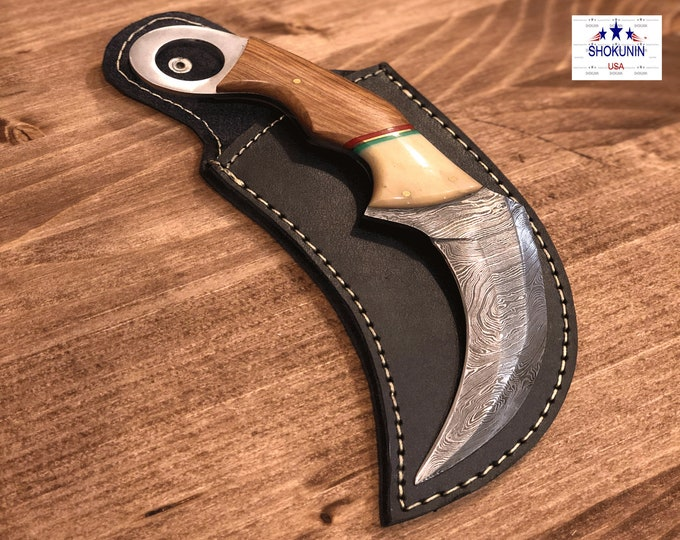 "Knife, 8"", Damascus steel knife with sheath, Karambit knife"