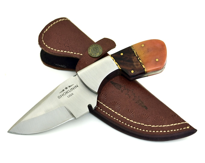 HUNTING knife, HAND FORGED D2 Steel Hunting Knife Camping Utility tactical knife walnut wood handle