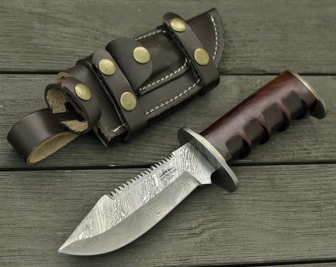 "DAMASCUS KNIFE, CUSTOM hunting knife, 10.5"" ,Hand Made, Damascus steel hunting knife, Damascus Guard & Pommel, Walnut wood handle, full tang"