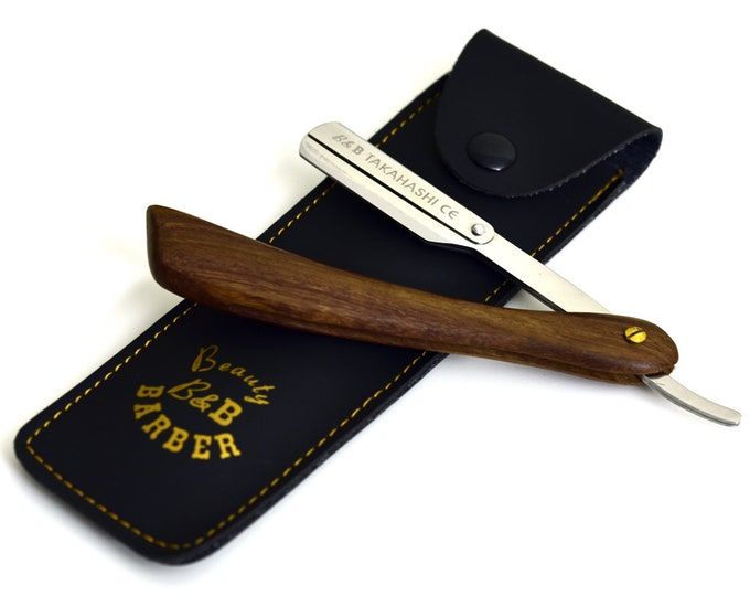 Personalized Straight razor w/ Walnut wood handle & brass fasteners with 20 double edge replaceable blades