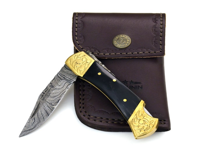 "DAMASCUS Knife, Folding knife, Pocket knife, EDC damascus steel hunting utility knife tactical camping knife 7"" Every day carry WOOD"