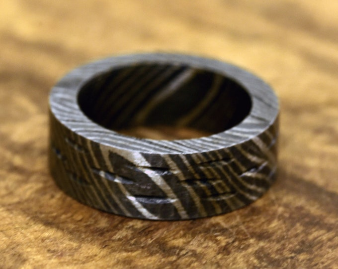 Hand Carved Damascus Ring, Hand Forged & Finished Damascus Steel Ring, US size 7.5 ring, wedding band, engagement ring, rings, bands