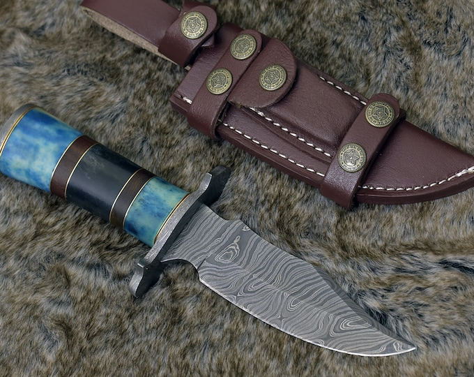 "DAMASCUS HUNTING KNIFE, Custom Damascus knife, 10.0"" ,Hand forged, Damascus steel knife, Damascus Guard, Rose wood & Bone Handle"