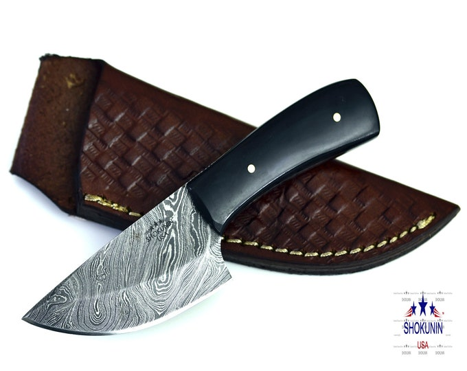"6"" Damascus skinning knife ram horn handle"