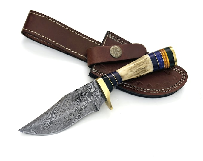 "8.0"" Custom Damascus knife, Stag handle, Damascus steel utility knife tactical camping hunting knife with hand stitched leather sheath"