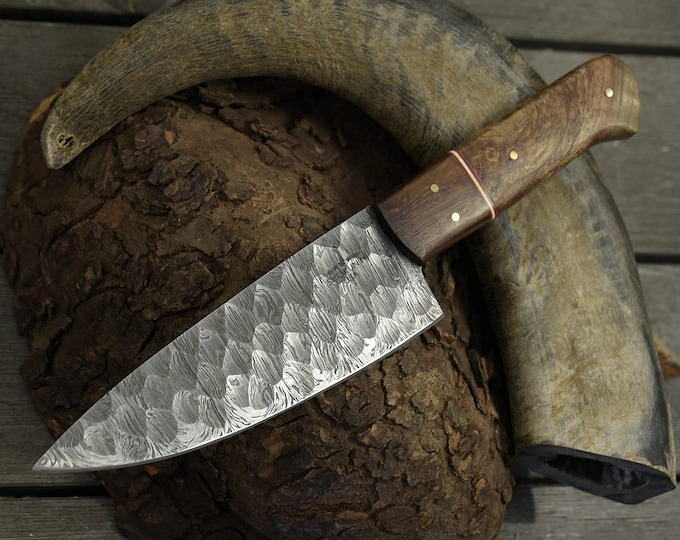 "DAMASCUS CHEF KNIFE, Pro chef kitchen knife, 10.5"" Custom, Exotic Mango Burl Wood handle, Handmade Hand forged Damascus Steel knife"