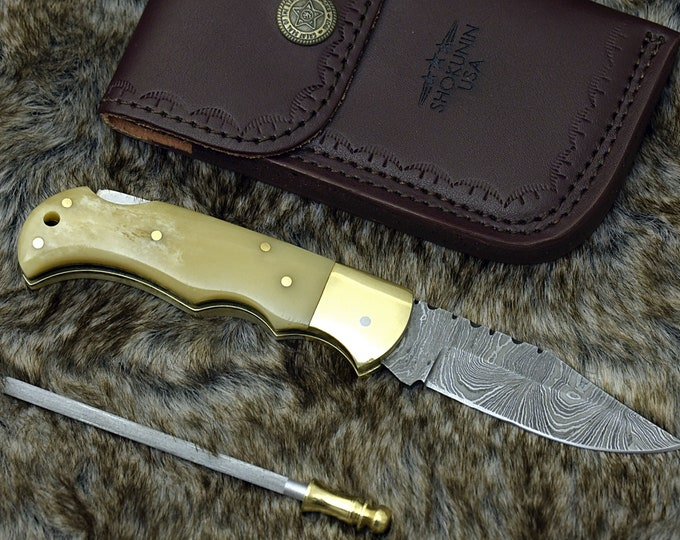 "Damascus knife, 6.5"", Custom, Damascus Folding knife, Damascus Steel Knife, Personalized Damascus knife, Pocket knife, Exotic Camel bone"