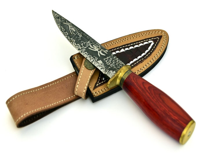 Personalize, ART, HAND FORGED D2 steel hunting knife with red hardwood handle