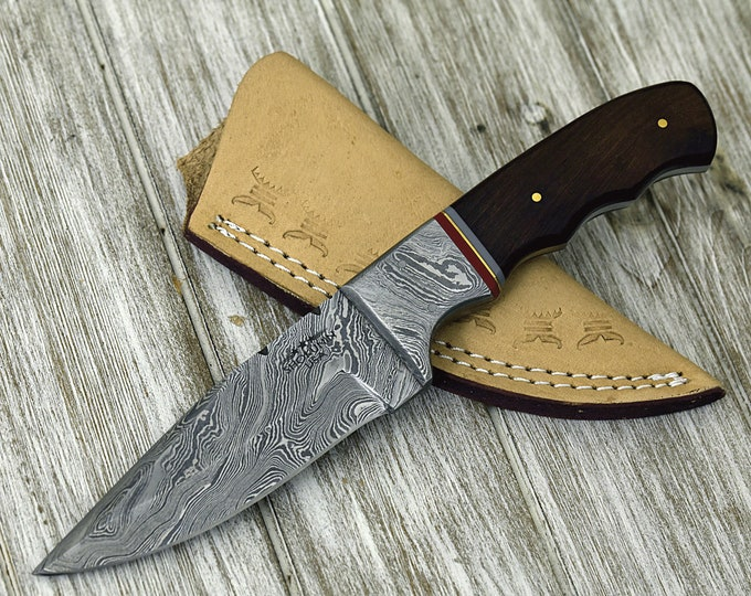 "9.0"", Damascus knife with walnut wood handle hunting / tactical / survival / custom / personalize Damascus steel knife"