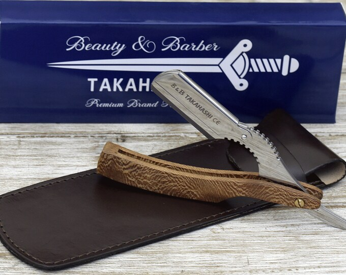 Personalized EXOTIC LEOPARD WOOD Handle Straight Razor, Disposable blade Straight Razor gift, professional