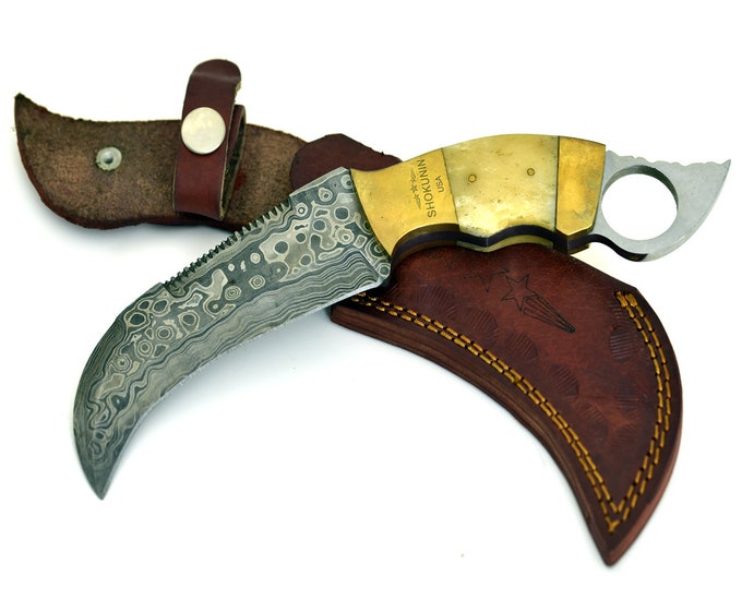 White Crow, HAND FORGED Damascus steel karambit hunting knife with buffalo horn handle Tear Drop