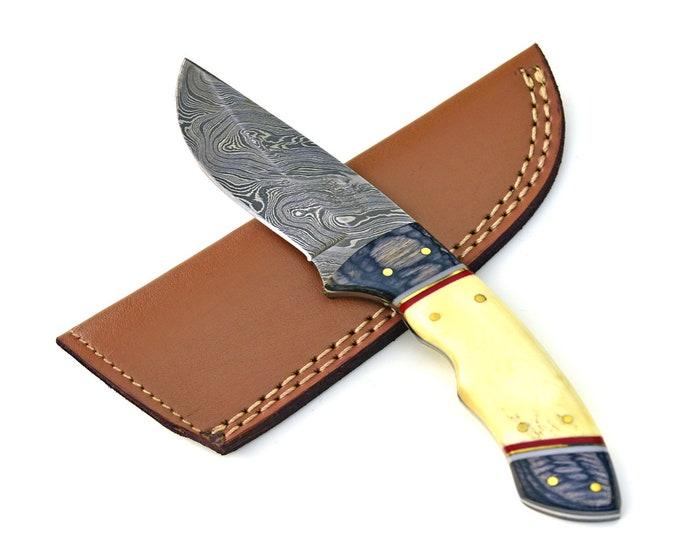 "DAMASCUS KNIFE, Damascus Steel Knife, Damascus Hunting, Personalized knife, engraved knife, groomsmen gift, gift hunting knife 8"" 3489"