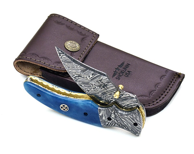PERSONALIZE DAMASCUS KNIFE, folding knife, every day carry, Damascus folder pocket knife, folding pocket knife, colored bone handle, Custom