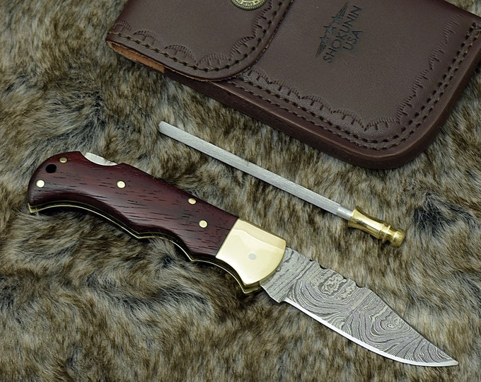 "Pocket knife, 6.5"" Custom Damascus Folding knife, Damascus Steel Knife, Personalized Damascus knife, hunting Pocket knife, Purple heart wood"