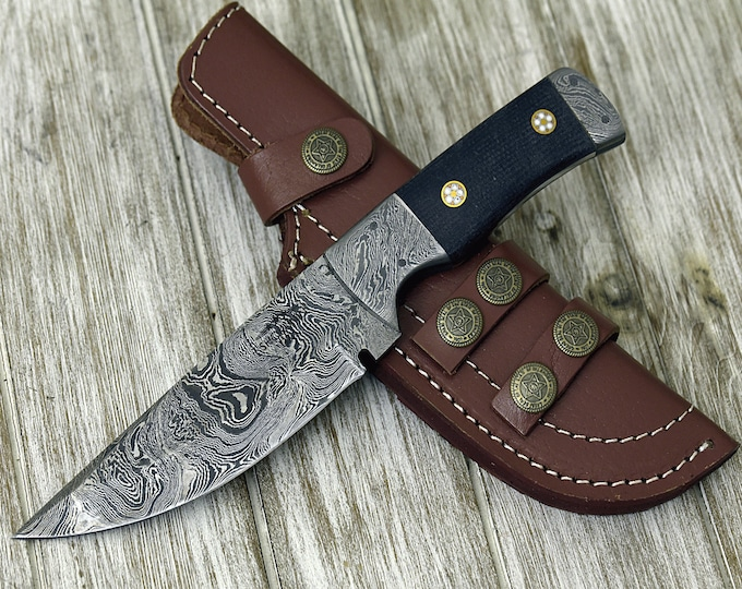 "DAMASCUS KNIFE, Damascus steel knife, skinning camping utility hunting everyday carry knife 9"" PERSONALIZE 3488-1 Damascus custom"
