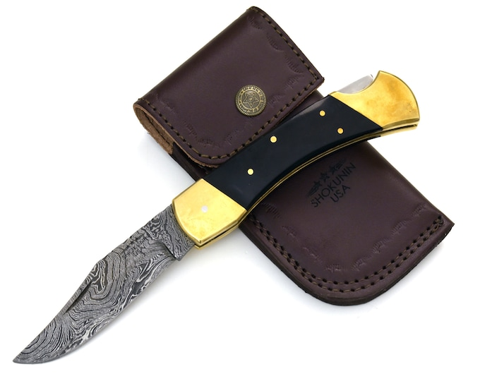 "DAMASCUS Knife, Folding knife, Pocket knife, EDC damascus steel hunting utility knife tactical camping knife 8.75"" Every day carry HORN"