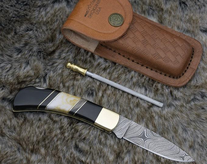 "Damascus pocket knife, 6.5"", Custom, Hunting knife, Damascus Folding knife, Damascus Steel Knife, Damascus knife, Clip Point knife, Lacewood"