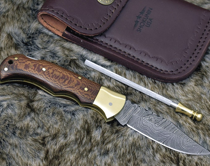 "Damascus pocket knife, 6.5"", Custom, Damascus Folding knife, Damascus Steel Knife, Personalized Damascus knife, Pocket knife, Leopard wood"