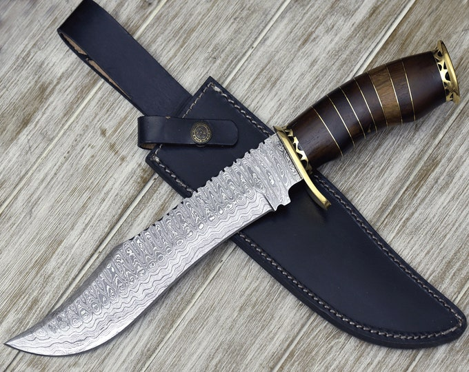 """Personalized, Engraved,DAMASCUS knife, damascus steel knife, tactical,  Bowie knife, hunting knife 14"""" Walnut Wood Handle Custom"""
