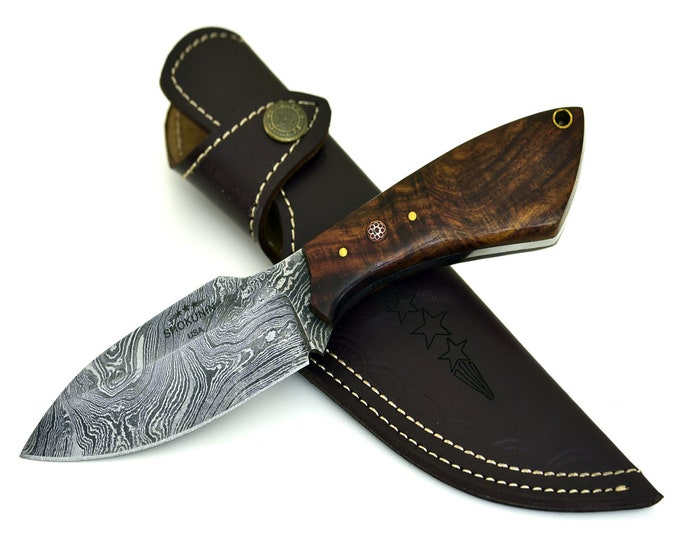 Personalize HARPOON, Damascus steel walnut wood handle hunting knife skinning knife